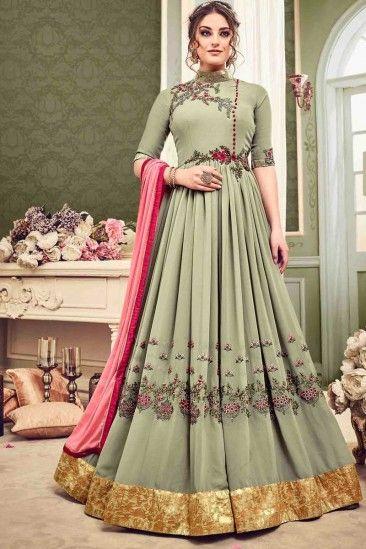 ff27991bb3 Elegant Light Olive Green Georgette Anarkali Gown with Resham Work -  LSTV0020