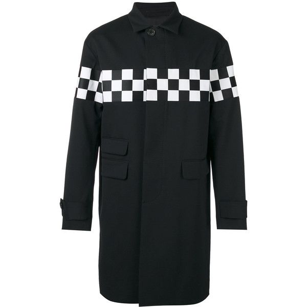 Dsquared2 single breasted checkboard coat (5,350 MYR) ❤ liked on Polyvore featuring men's fashion, men's clothing, men's outerwear, men's coats, black, mens fur collar coat and mens single breasted pea coat