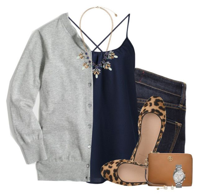 J.crew cardigan, navy camisole & leopard flats by steffiestaffie on Polyvore featuring polyvore, fashion, style, J.Crew, Amour Vert, Marc by Marc Jacobs, Tory Burch, Accessorize, Michael Kors and clothing