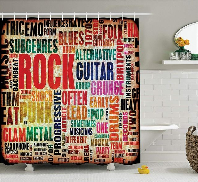 Music Shower Curtain Retro Rock And Roll Symbol Lettering In