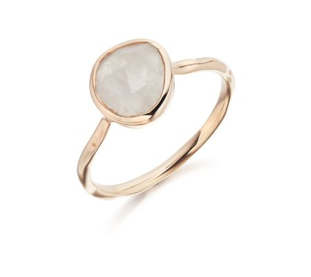 Siren Stacking Ring in 18ct Rose Gold Plated Vermeil on Sterling Silver with Moonstone