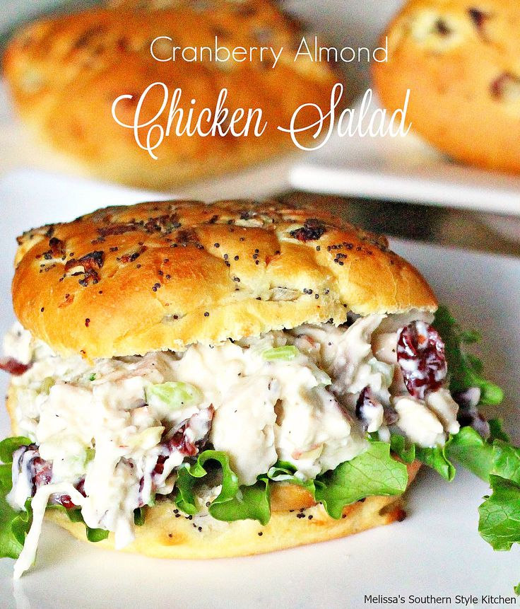 Fill mini croissants or slider rolls with this delicious Cranberry-Almond-Chicken-Salad