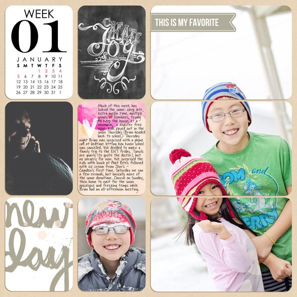 Great use of one of my Chalk It Up printable cards!  2014 Week 1 Left Project Life by @Melissa Squires Squires Squires Squires Lewis