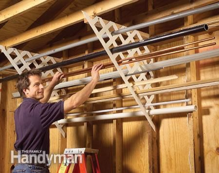 Plastic lattice for storing long materials like trim, pipe, conduit, etc. | Family Handyman