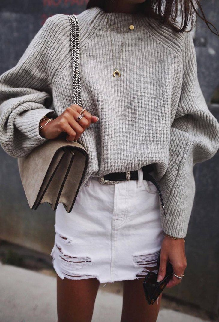 outfit of the day | knit sweater + bag + white skirt #mode #fashion #style #love