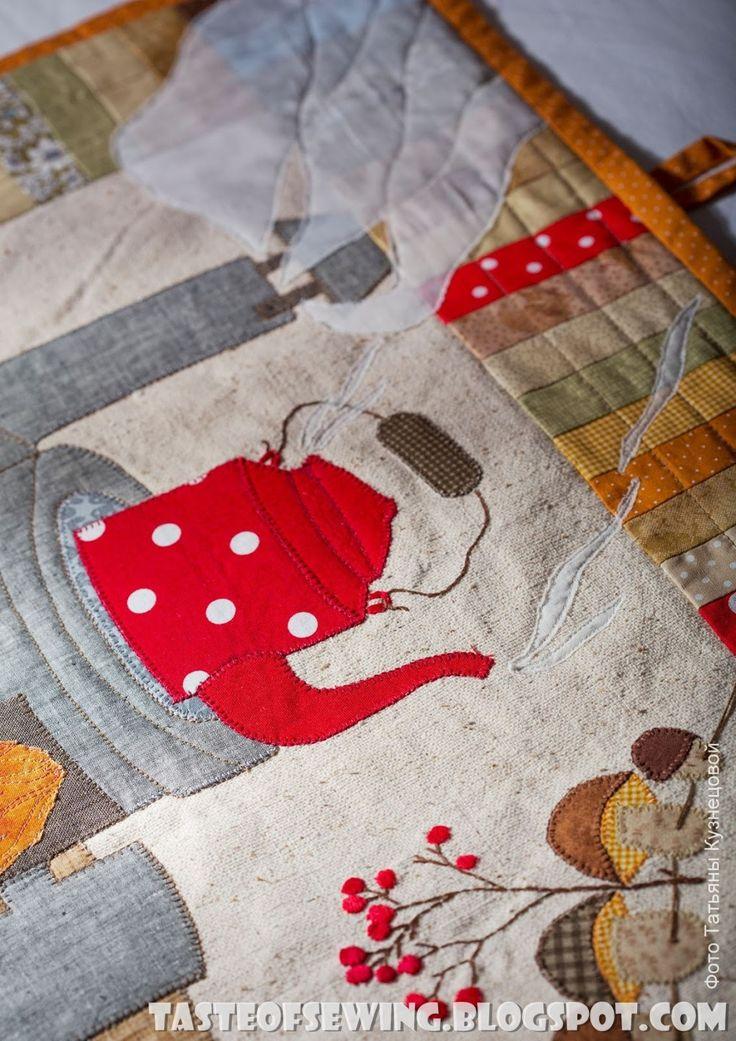 A taste of sewing: Картинка с ёжиком, красный чайник закипел.