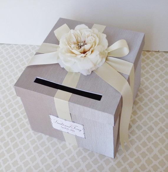 Wedding Card Box Silver Ivory Money Holder by LittleDivine on Etsy, $69.00