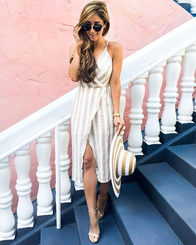 Pin for Later: Your Ultimate Guide to Getting Dressed in Every Summer Temp  A breezy tank dress and sandals.