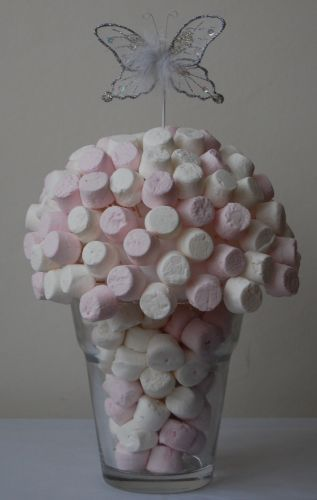 Sweets: Pink & White Marshmallows; cute for baby shower or something