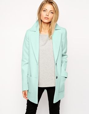 €62, Abrigo Verde Menta de Asos. De Asos. Detalles: https://lookastic.com/women/shop_items/143982/redirect