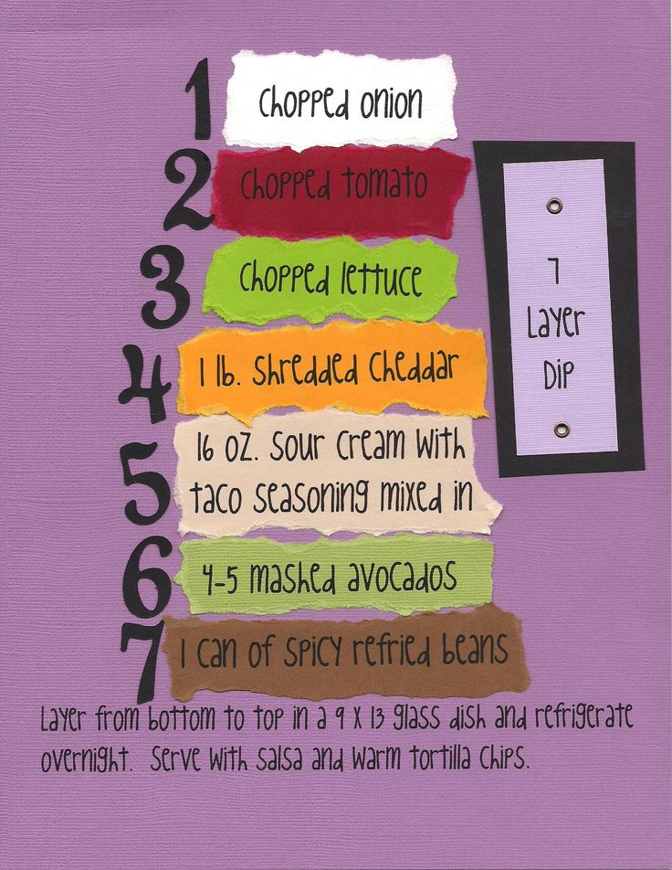 7 Layer Dip -- I would use regular retried beans, no seasoning in the sour cream, and black olives for the top layer rather than onion.