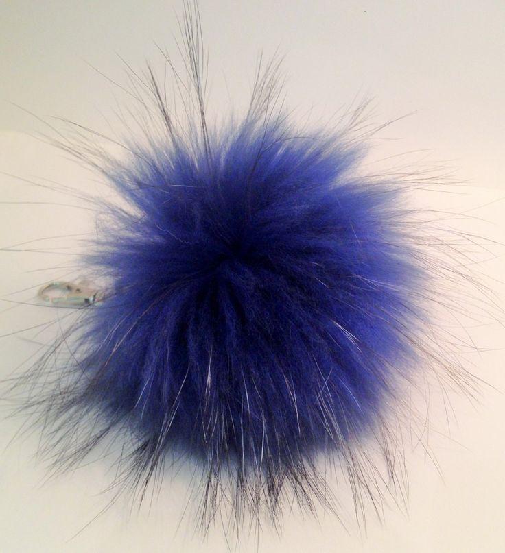 Real fox fur keychain, pom pom - Blue by TrixiCookies on Etsy