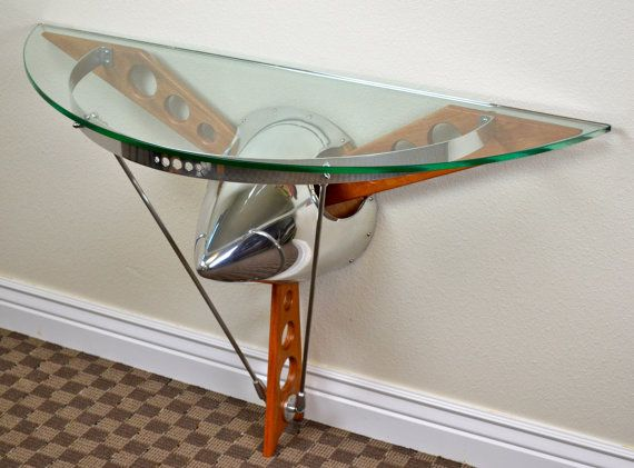3 Blade Prop Spinner Console Table available in 3 by AeroAntiques, $790.00>>>>Tell your ARIZONA FRIENDS that the LEFT SEAT WEST, an AVITATION THEMED restaurant in Glendale, Arizona is a great place for their next party!  Check out our Facebook page! http://www.facebook.com/pages/Left-Seat-West-Restaurant/192309664138462