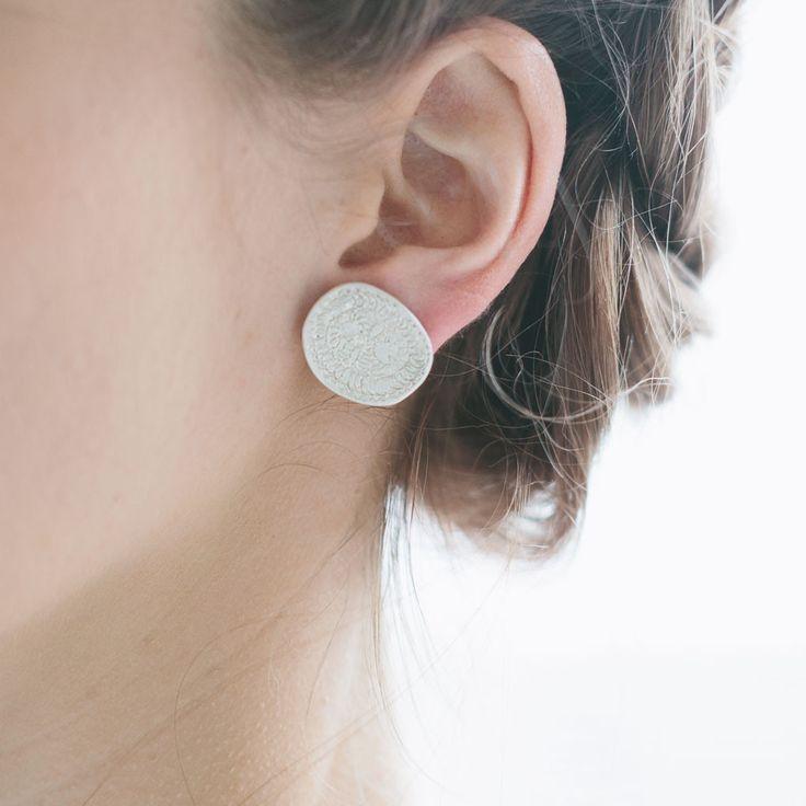 Amoeba earring studs, sterling silver $180