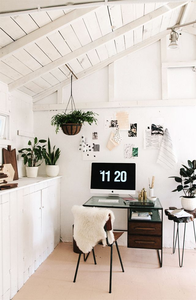 White office space with plants