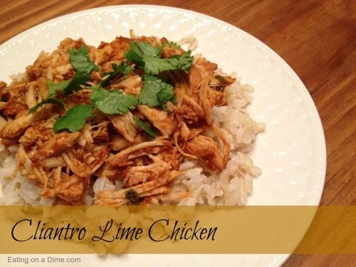 Crockpot Cilantro Lime Chicken Recipe. Maybe make cilantro lime rice to go with. Also put in burrito shell maybe?