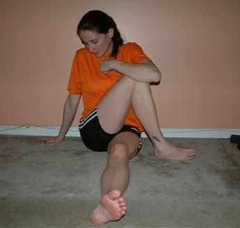 Stretching and Strengthening Exercises for Iliotibial Band Syndrome Stretch # 3: Cross injured leg over the uninjured side and pull the leg as close to your chest as possible.