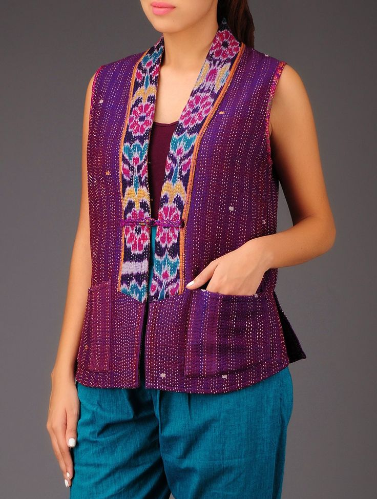 Buy Violet Ecru Ikat Kantha Silk Cut Sleeves Jacket Apparel Jackets Wanderlust Recycled Vintage Shrugs and in Embroidery Online at Jaypore.com