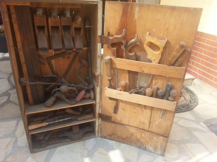 Werkzeugschrank Antik Schrank Tischler Schreiner Tischlerei Hobel 46 Teile
