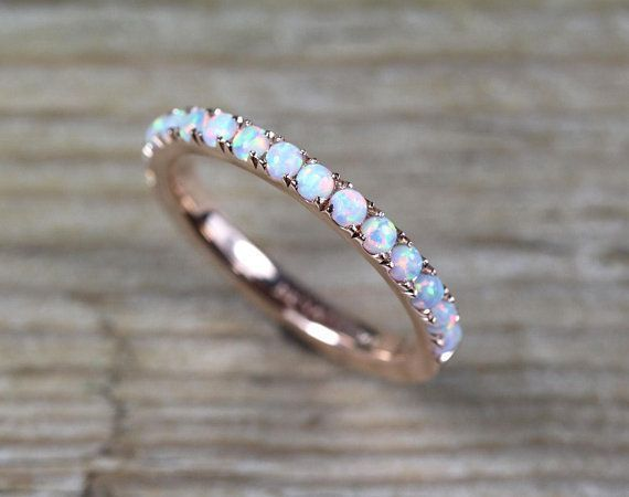 Opal Band 3mm Band Full Eternity Ring Created White Opal Rose Gold Solid 925 Sterling Silver Wedding Band