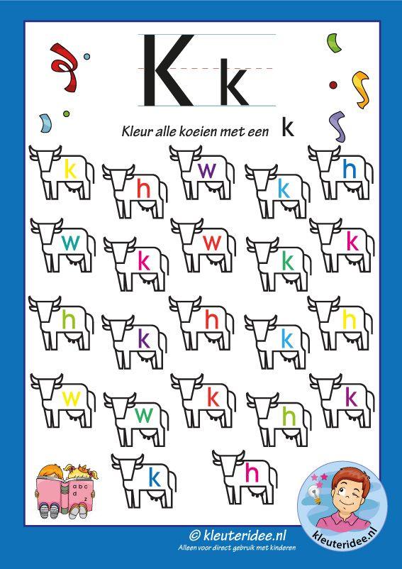 Pakket over de letter k blad 7, kleur alle koeien met een k, kleuteridee, free printable.