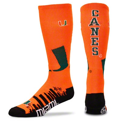 Miami Hurricanes Skyline Crew Socks