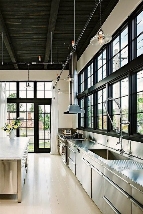 love this kitchen, especially black windows and doors