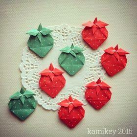 折り紙で簡単ないちごの折り図