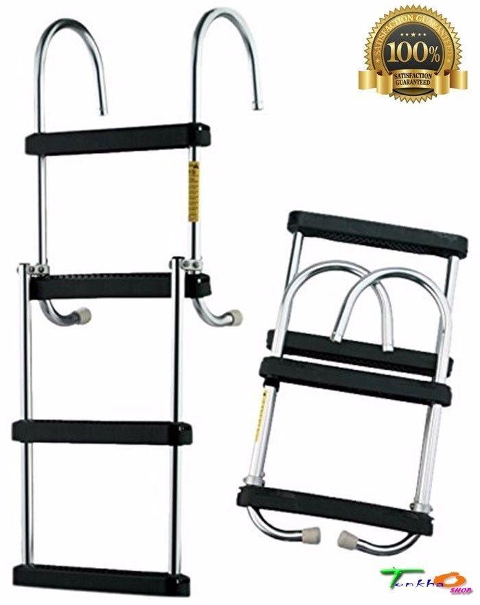 NEW 4 Step Aluminium Boarding Ladder Folding Pontoon Boat Furniture Lightweight #Garelick