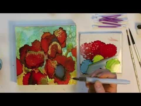 Alcohol ink painting tutorial. Step by step instructions on how to paint abstract poppies flowers on a canvas textured artist panel using alcohol inks. Tips and techniques all explained.