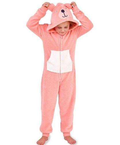d90545eb9 Girls Novelty Hood Coral Pink Teddy Bear Cosy Fleece Onesie ...