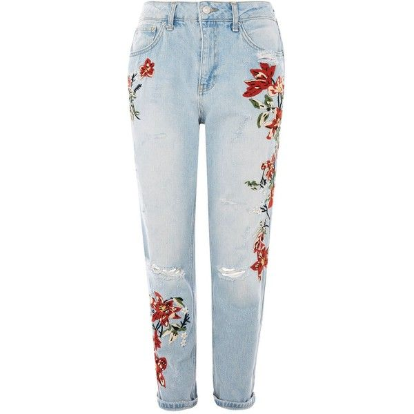 Topshop Petite Flower Embroidery Bleach Denim Mom Jeans (99 AUD) ❤ liked on Polyvore featuring jeans, bleach denim, bleached denim jeans, topshop jeans and petite jeans