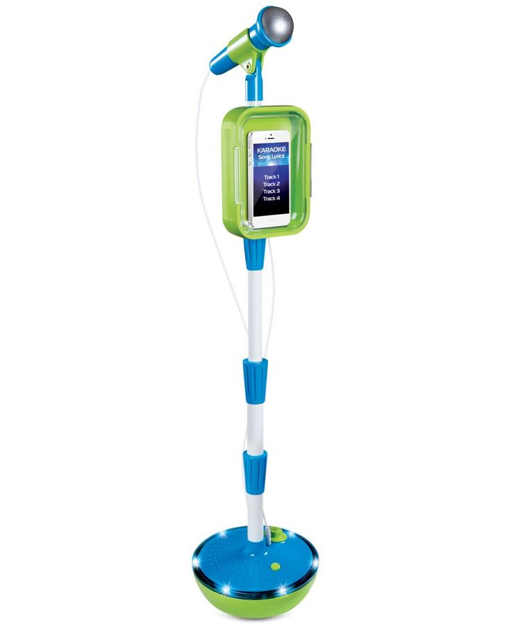 Sing and be your own artist with the Discovery Kids Light-Up Musical Microphone & Stand from Discovery Kids | Plastic | Spot clean | Imported | Real working microphone with fully adjustable stand | Si