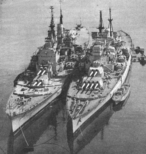 British Royal Navy Battleships: HMS Vanguard and HMS Duke of York.