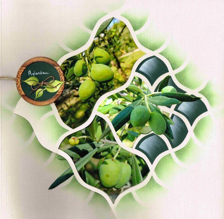 """Scrap à Chambé: Quelques feuilles.... """"vert olive"""" sur page double..."""