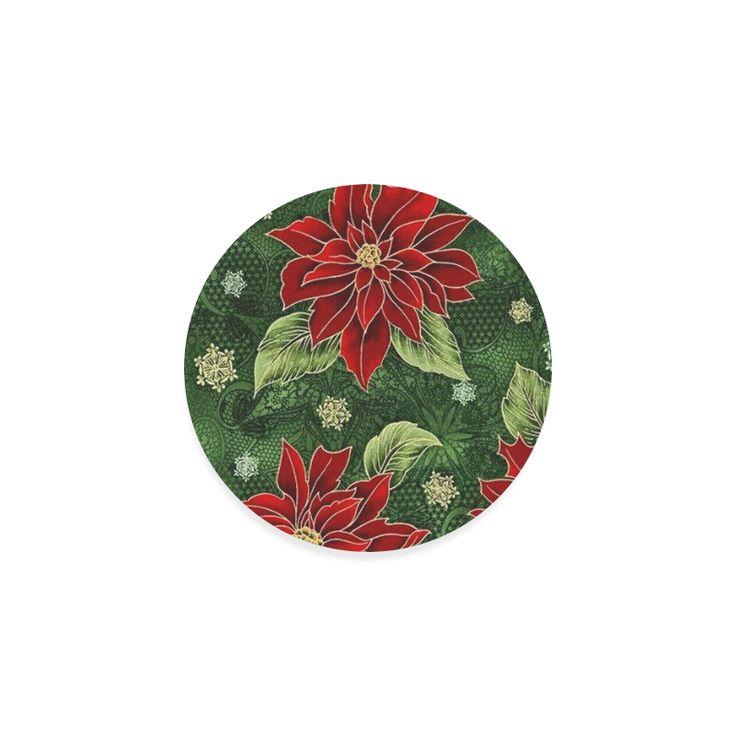 Elegant Christmas Poinsettia Round Coaster l Square coasters also available.