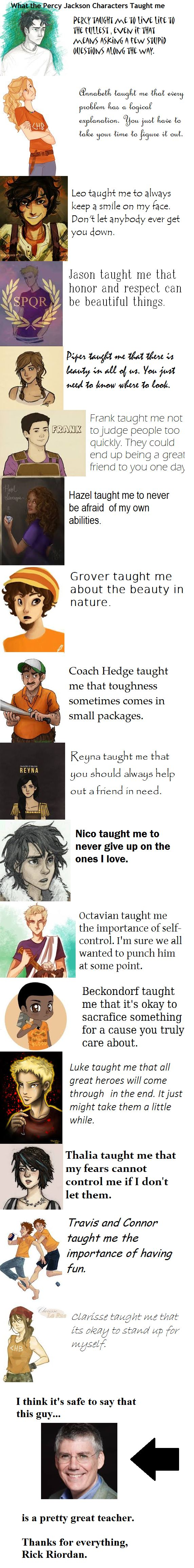 What the Percy Jackson Characters Taught me~ Rick Riordan is a great teacher. Books and Reading