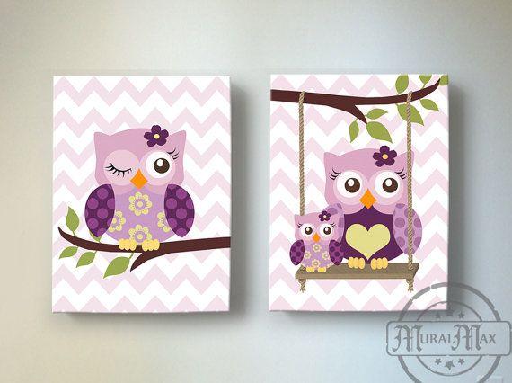 Toddler Girls Room Art Owl Nursery Wall Art Canvas Art by MuralMAX