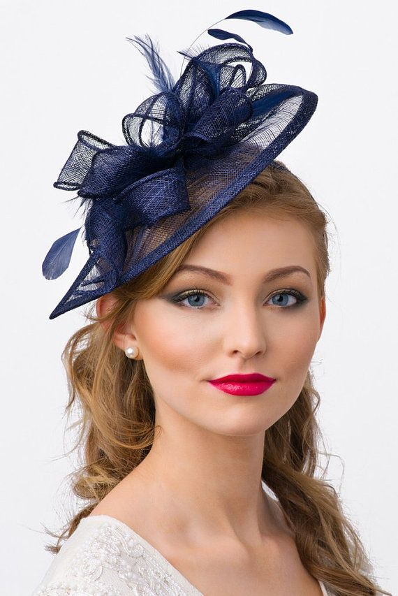 "Navy Blue Fascinator - ""Penny"" Mesh Hat Fascinator with Mesh Ribbons and Navy Blue Feathers"