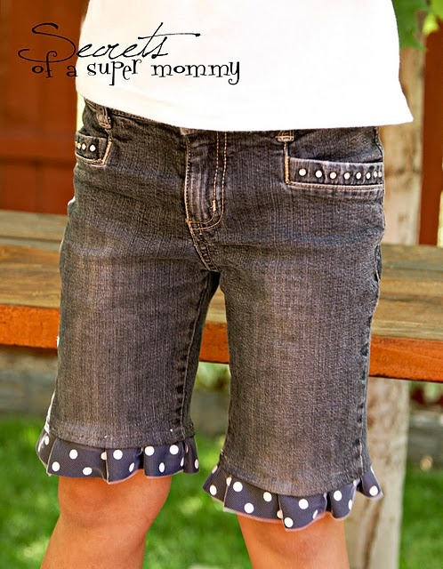 Turn pants grown out of into cute shorts by sewing the fabric onto the ends...cute and thrifty idea