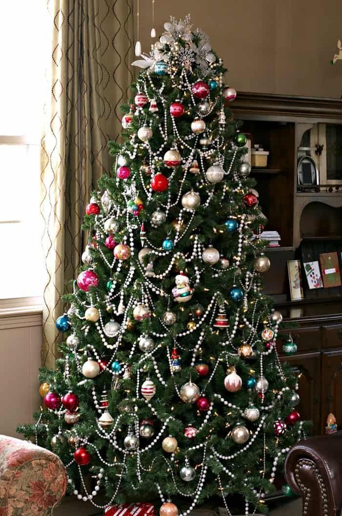 Christmas Tree Decorated with Vintage Glass Ornaments