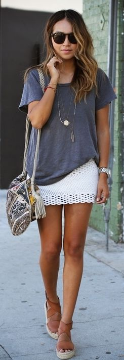 Love her scalloped, perforated mini skirt with tee! Women's spring summer fashion clothing outfit for shopping dates