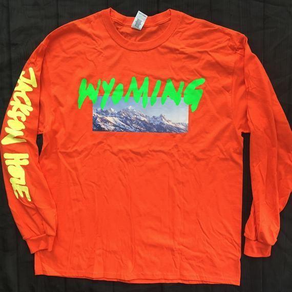 Kanye West Wyoming Merch Long Sleeve Jackson Hole Shirt Orange Black Or White Jackson Kanye Merch Orange Shirt Sleeve Wyoming In 2020