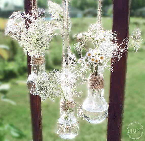 Conjunto de colgante 3 bombilla floreros. por ChicWreath en Etsy