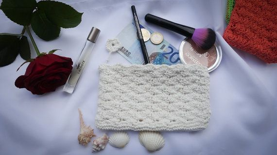 Crocheted Pouch  Purse  Cosmetic Bag  Make Up Bag  by MadeByLauri