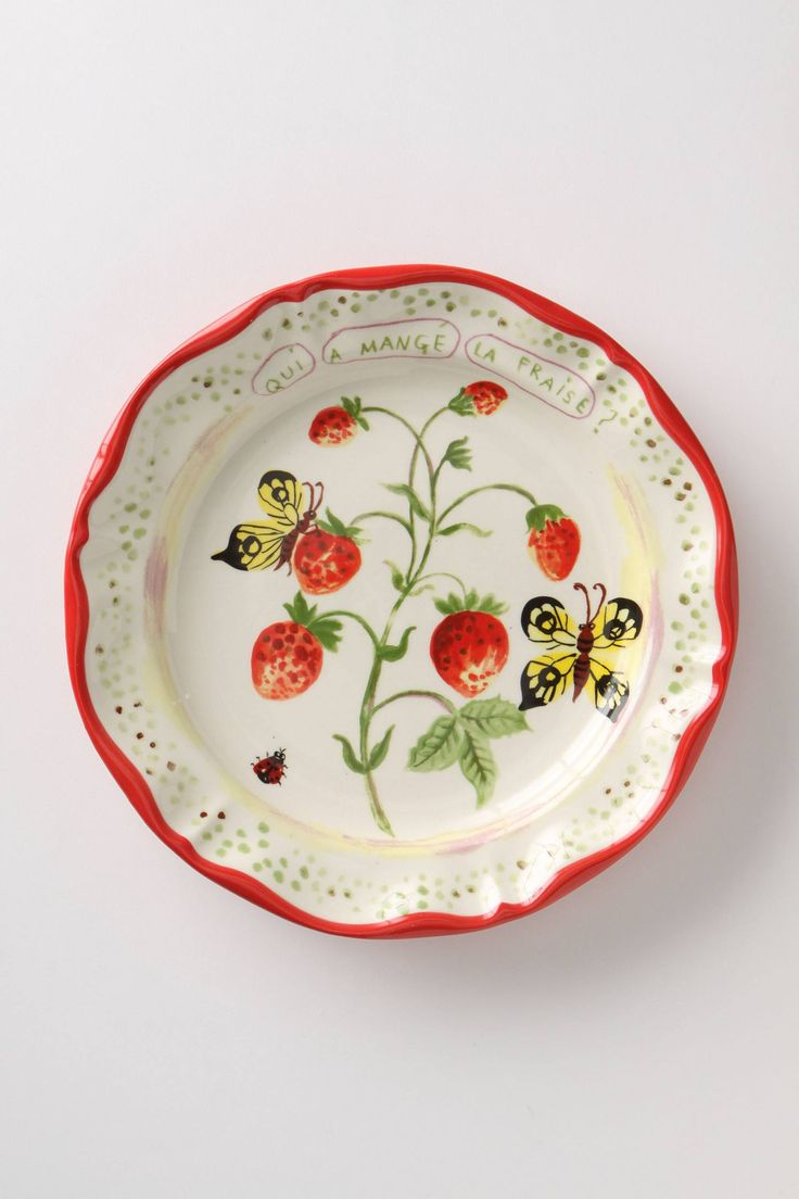 best plates i want images on pinterest  ceramic pottery  - de vincennes dinner plate berries by nathalie lete anthropologie carriesher plates they're all so pretty