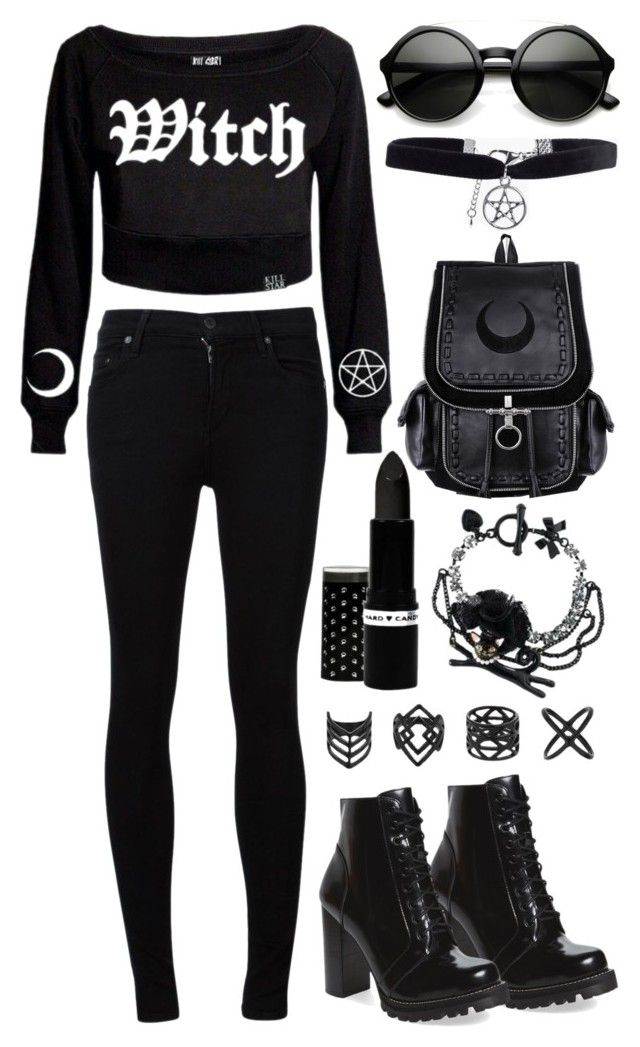"""Nu Witch In Town"" by psycho-doodle-bug ❤ liked on Polyvore featuring Killstar, Citizens of Humanity, Topshop, Boohoo, Jeffrey Campbell and ZeroUV"