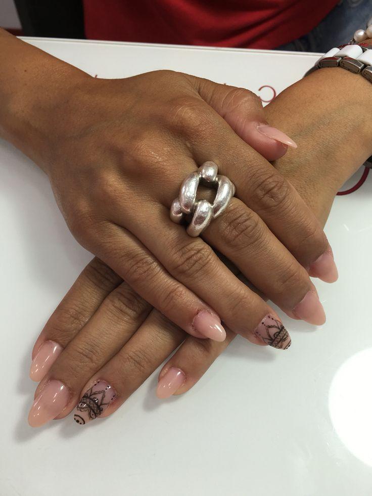 Nails art acrílico pico natural