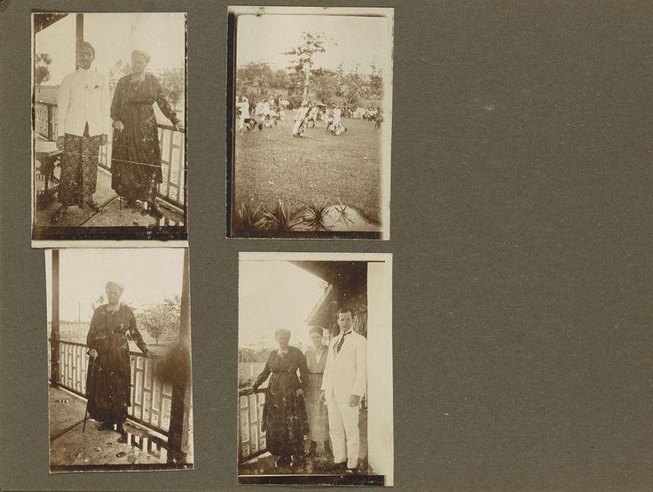 Anonymous | Leprozenkolonie Danaradja: oude vrouw en dansgroep, Anonymous, 1922 | Albumblad met vier foto's: linksboven een oude vrouw die leunt op een stok en een Indische man poserend op een veranda, linksonder dezelfde vrouw. Rechtsonder poseert deze vrouw samen met een man en een vrouw op dezelfde veranda. Mogelijk betreft het hier de woning van de artsdirecteur van leprozenkolonie Danaradja. Rechtsboven een groep Indische mensen op een grasveld, mogelijk tijdens een dansuitvoering…