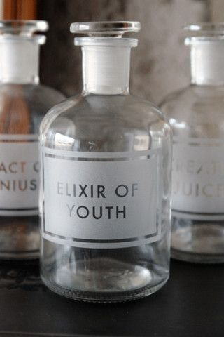 We could all use some Elixir of youth~apothecary bottle –  At Someday boutique by way of the UK. Great vanity jar or gift idea